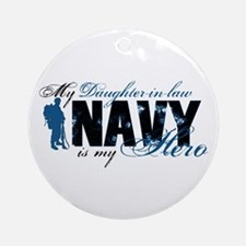 Daughter Law Hero3 - Navy Ornament (Round)