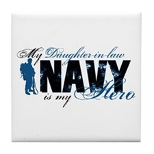 Daughter Law Hero3 - Navy Tile Coaster