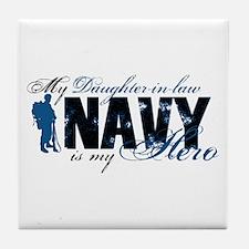 Daughter Law Hero3 - Navy Tile Coaster
