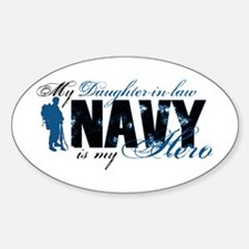 Daughter Law Hero3 - Navy Sticker (Oval)