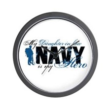 Daughter Law Hero3 - Navy Wall Clock