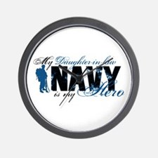 Daughter Law Hero3 - Navy Wall Clock