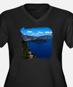 Crater Lake Wizard Island Women's Plus Size V-Neck
