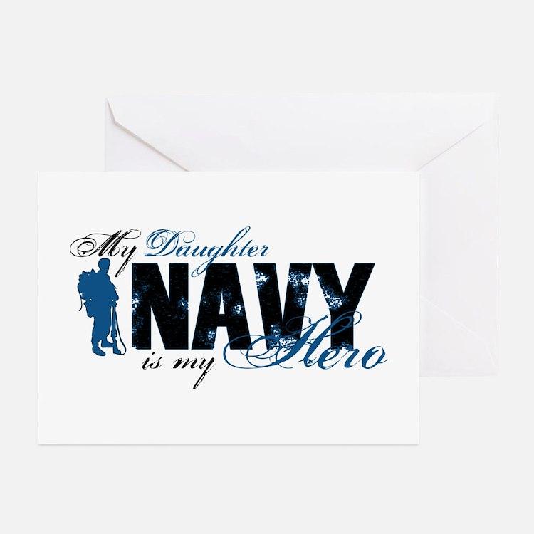 Daughter Hero3 - Navy Greeting Cards (Pk of 10)
