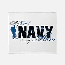 Dad Hero3 - Navy Throw Blanket