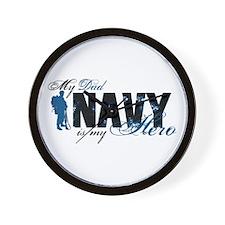 Dad Hero3 - Navy Wall Clock