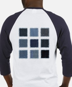 Fake Blue Jean Patches Baseball Jersey