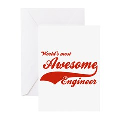 World's Most Awesome Engineer Greeting Cards (Pk o