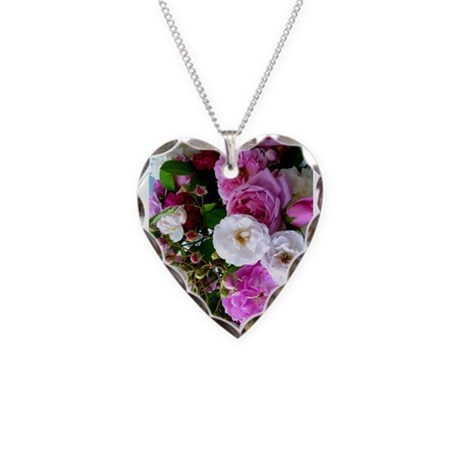 Persian Roses 6 Necklace Heart Charm