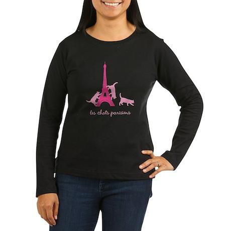 Cats of Paris (dark) Women's Long Sleeve Dark T-Sh