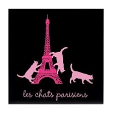 Cats of Paris (dark) Tile Coaster
