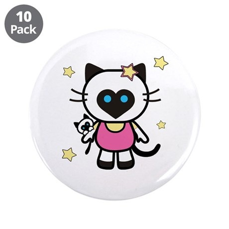 """Lil' Siamese Kitty 3.5"""" Button (10 pack)"""