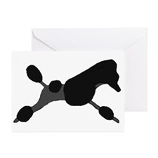 Black Leaping Poodle Greeting Cards (Pk of 10)