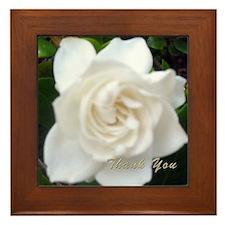 Lovely White Gardenia Framed Tile