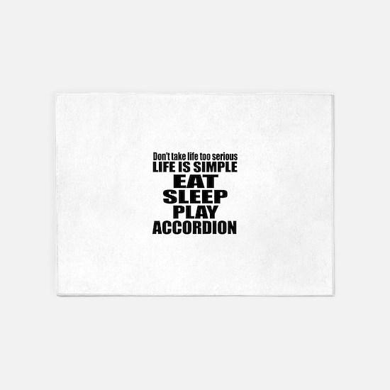 Eat Sleep And Accordion 5'x7'Area Rug