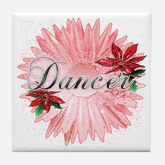 Dancer Pink Snow Flower Tile Coaster