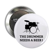 """Drummer Beer 2.25"""" Button"""