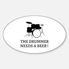 Drummer Beer Sticker (Oval)