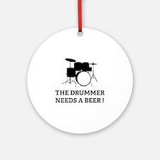 Drummer Beer Ornament (Round)