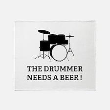 Drummer Beer Throw Blanket