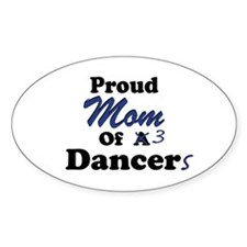 Mom of 3 Dancers Oval Decal