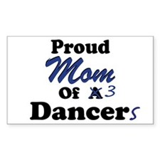 Mom of 3 Dancers Rectangle Decal