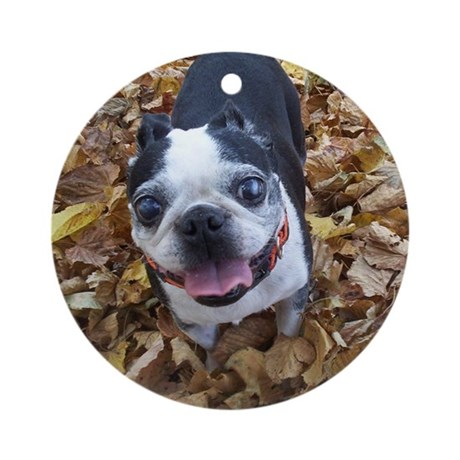 BOSTON TERRIER LEAVES Ornament (Round)