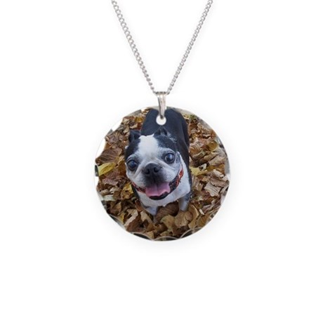BOSTON TERRIER LEAVES Necklace Circle Charm