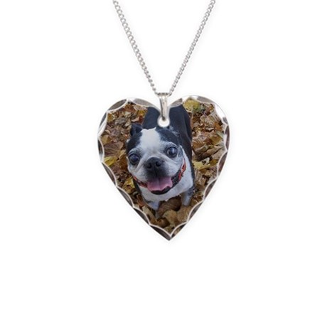 BOSTON TERRIER LEAVES Necklace Heart Charm
