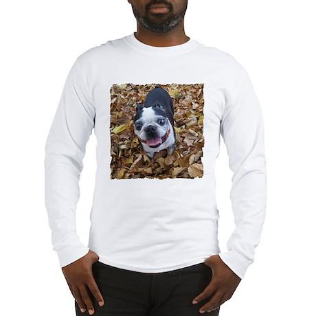 BOSTON TERRIER LEAVES Long Sleeve T-Shirt