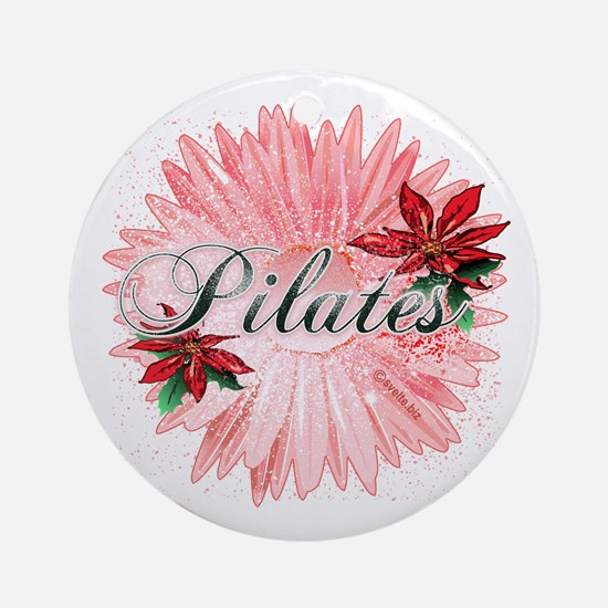 Pilates Pink Snow Flower Ornament (Round)