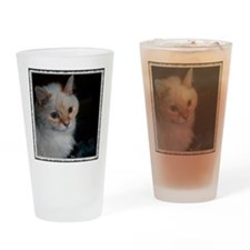 White Longhaired Cat: Kikoe Drinking Glass