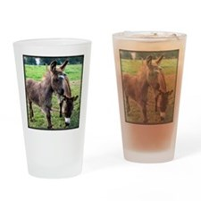 Baby Mini Donkey & Mom Drinking Glass