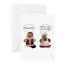 My leg hurts! What? Santa Greeting Cards (Pk of 20