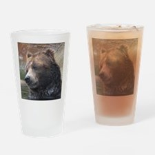 Grizzly Bear Cute Face Drinking Glass