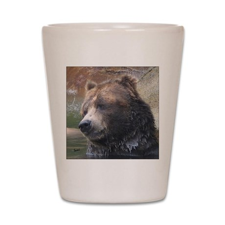Grizzly Bear Cute Face Shot Glass