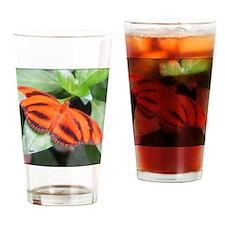 Orange Tiger Butterfly Drinking Glass