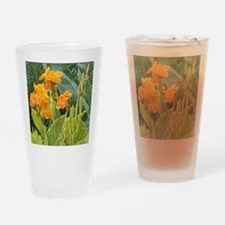 Orange Canna Flowers Drinking Glass