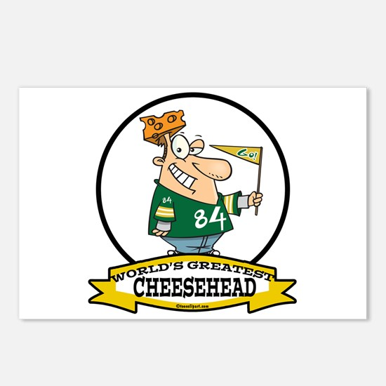 WORLDS GREATEST CHEESEHEAD Postcards (Package of 8