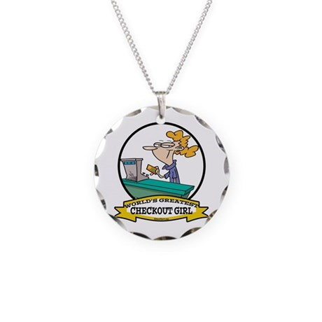 WORLDS GREATEST CHECKOUT GIRL Necklace Circle Char