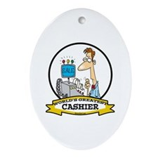 WORLDS GREATEST CASHIER MALE Ornament (Oval)