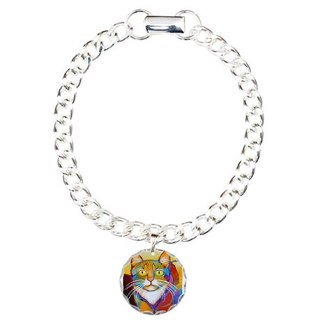 Cat-of-Many-Colors Charm Bracelet, One Charm