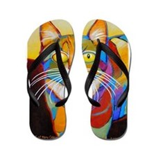 Cat-of-Many-Colors Flip Flops