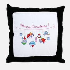 Merry Christmas bunnies Throw Pillow