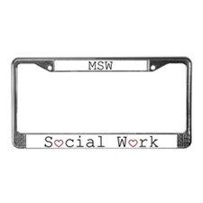 Social Work Hearts License Plate Frame-MSW
