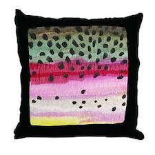 Rainbow Trout Skin Fishing Throw Pillow