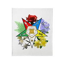 Eastern Star Floral Emblems Throw Blanket