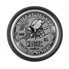 USN Seabees Equipment Operato Large Wall Clock