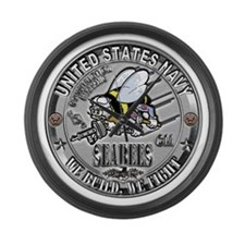 USN Seabees Construction Mech Large Wall Clock