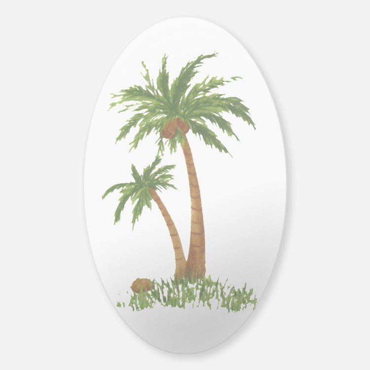 Twin palms Sticker (Oval)